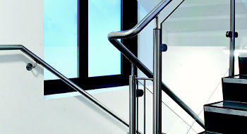42mm diameter stainless stair railing and balustrade system with toughened glas panes