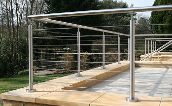 External terrace balustrade, railing and                        top rail system. 48mm daimeter, satin finished stainless                        steel posts and top rail. 4mm diameter tension wires.