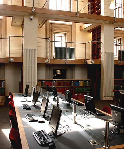 The National Library of Wales, North Reading Room. 48mmm diameter, side mounted stainless balustrade with handrail and horizontal tension wires