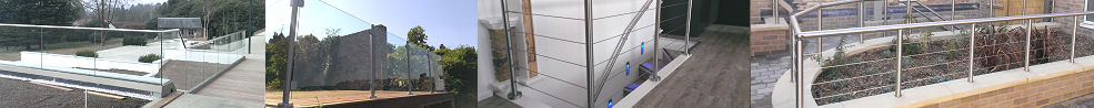 stainless steel balustrade and railing examples, tension wire and glass infill